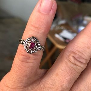 Jewelry - Ruby Genuine Sterling Silver Ring Sz 6